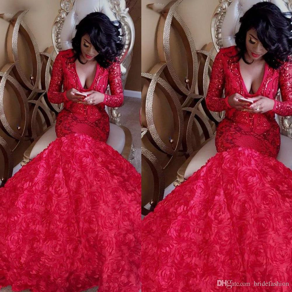 Sparkly Sequins Hand Made Flowers 3D Prom Dresses Deep V Neck Lace Appliques Red Mermaid Evening Dresses Long Sleeve Formal Party Gowns