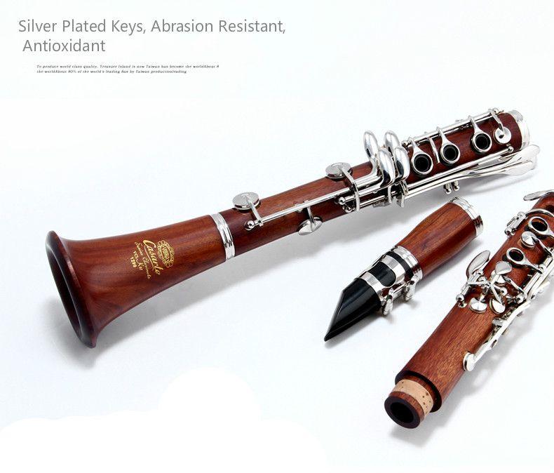 VIBRE VAS-K87 17 Tuşlar Benzersiz Redwood Bb Klarnet B Düz Gümüş Kaplama Düğme Nefesli Müzik Aletleri Klarnet ile Aksesuarları