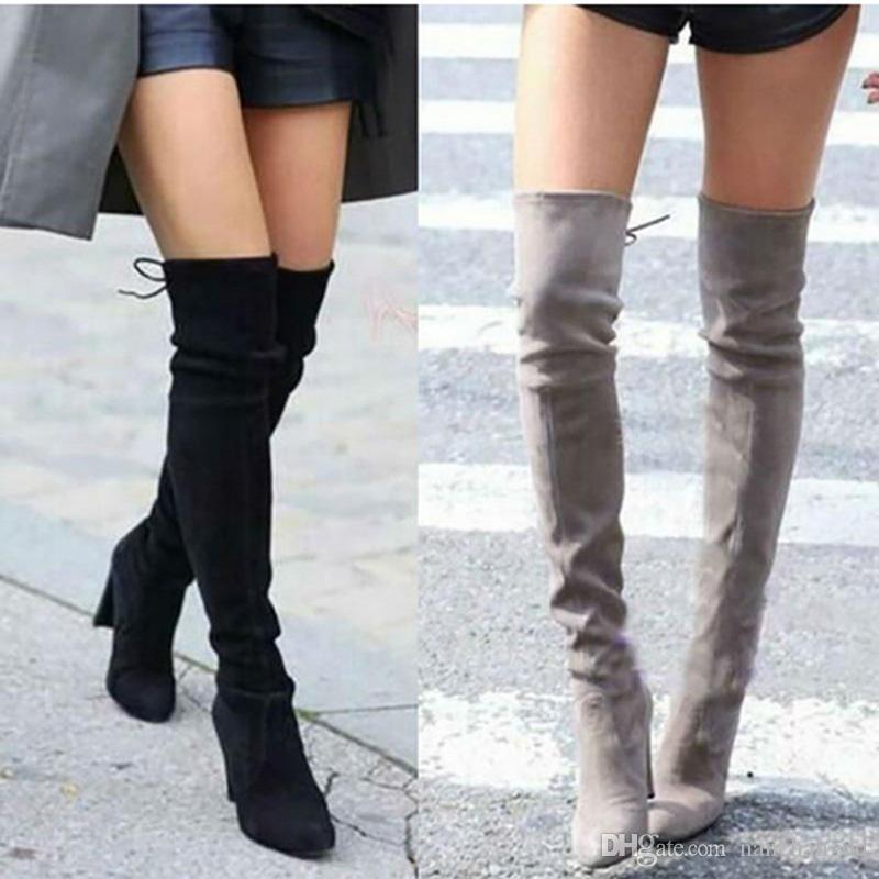 Женщины бедра высокие сапоги мода замша кожа высокие каблуки зашнуровать Женские сапоги выше колена плюс размер обуви