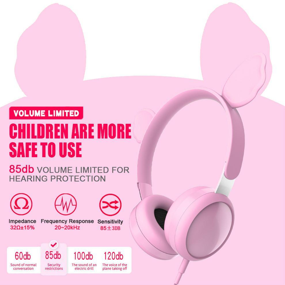 Pink Cat Ear-Stereo-Kopfhörer für den Schüler Musik-Klasse nette Karikatur-HiFi Wired Stirnband Professionelle Kinder Kopfhörer Bär