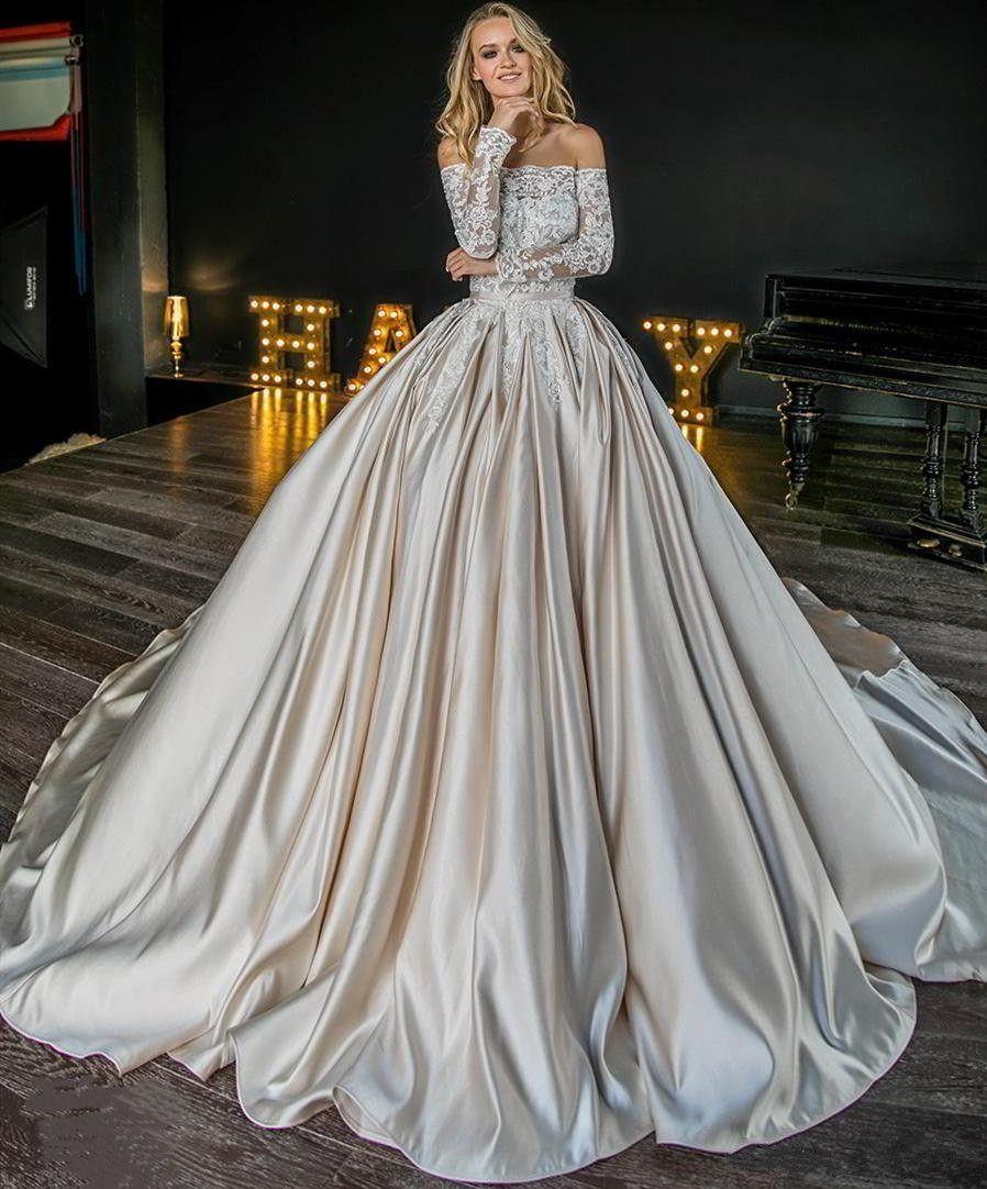 어깨 볼 가운 웨딩 드레스 2020 푹신한 신부 드레스 신부 드레스 긴 신부 정장 드레스 오프