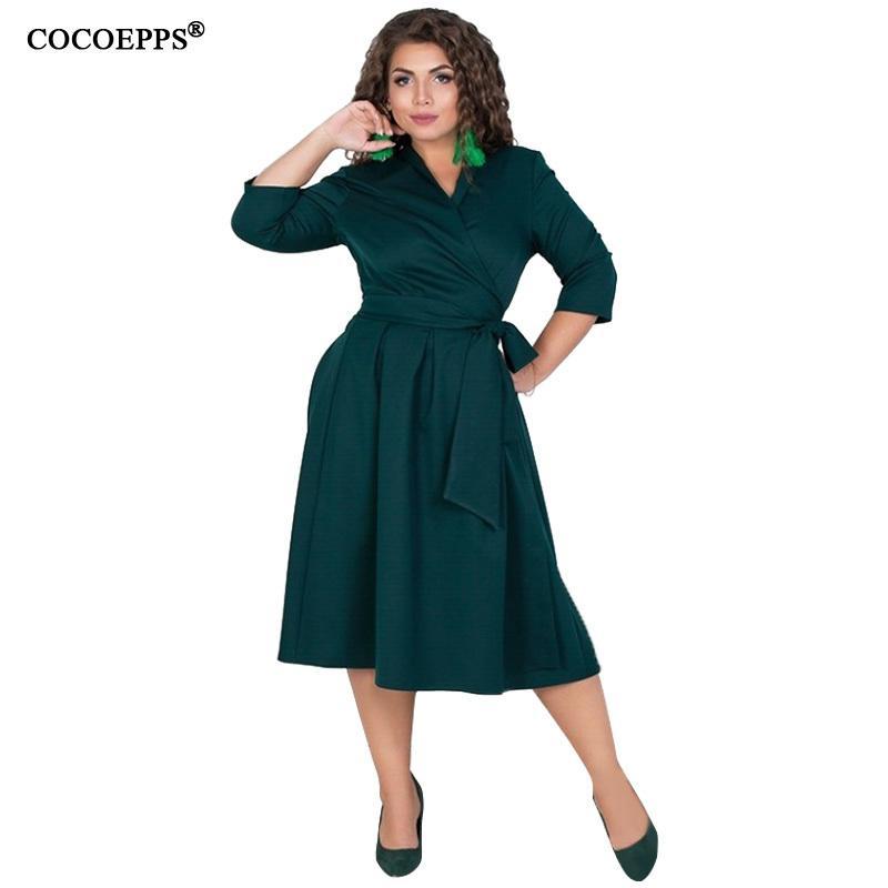 COCOEPPS L-6XL Donna Abiti Plus Size Autunno Inverno Vestito elegante vestiti larghi di grandi dimensioni Casual ufficio manica lunga Vestidos T5190610