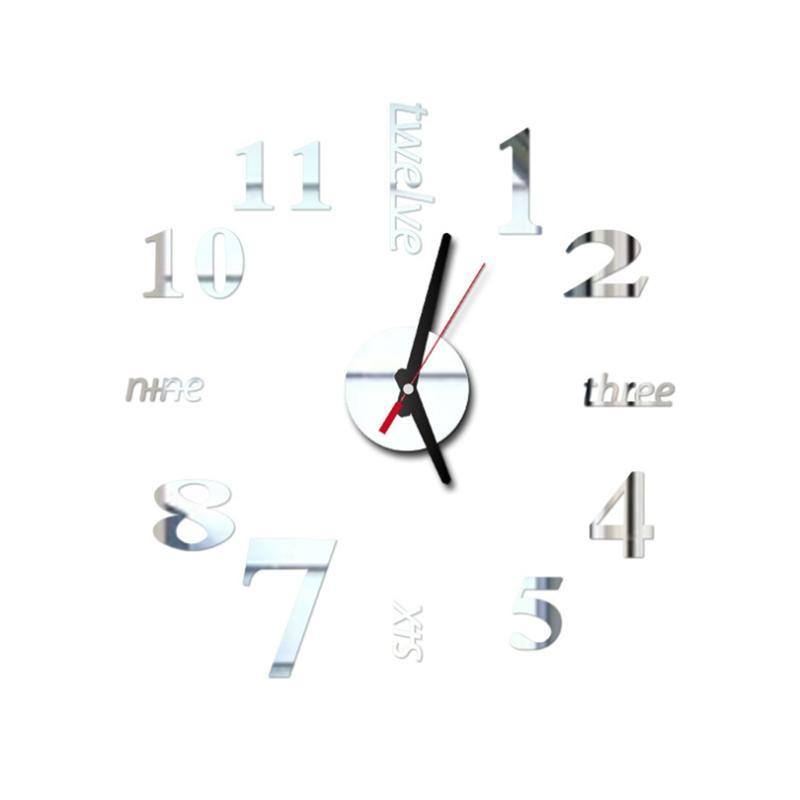 DIY الحديثة ساعة الحائط مجموعة 3D سطح مرآة ملصق تحسين المنزل للمنازل مطعم مكتب ديكور العرض ديكور