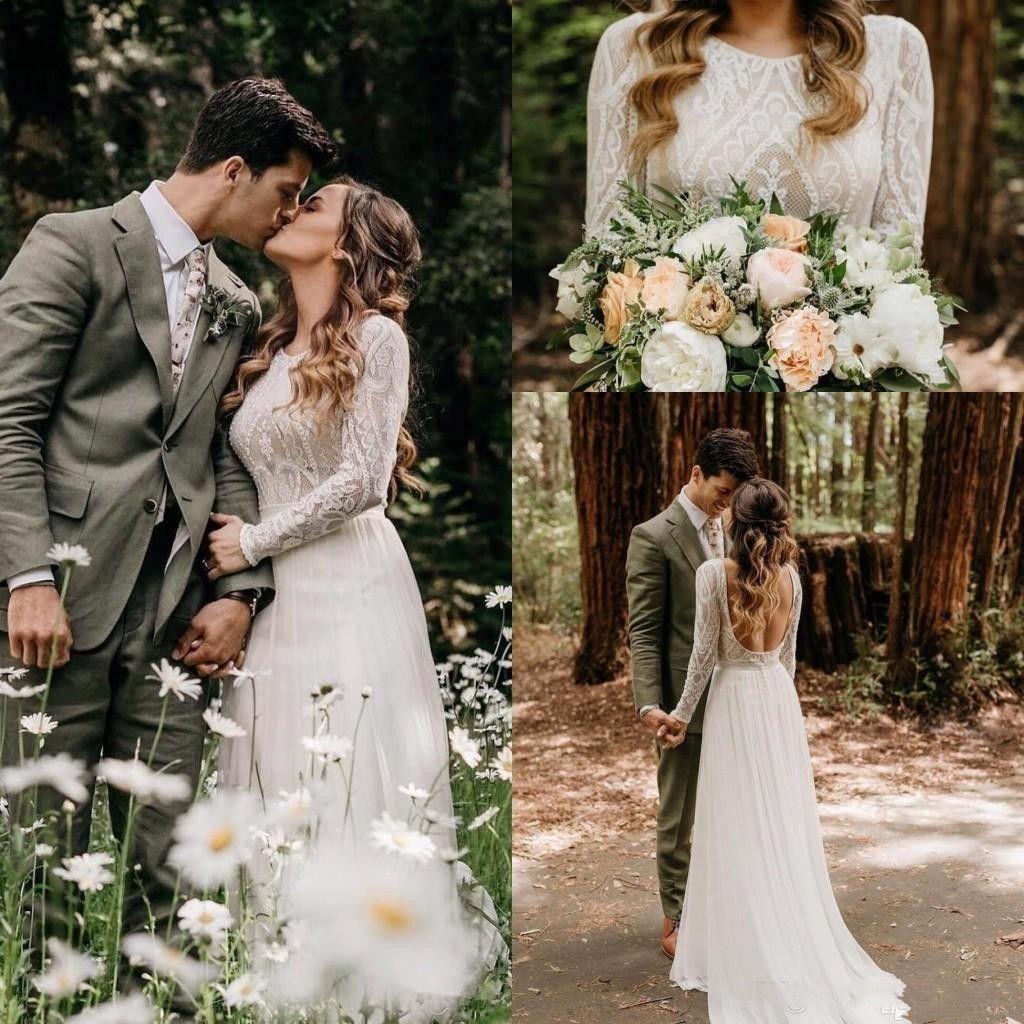 Cheap Beach Bohemian Wedding Dresses Sexy Backless Long Sleeve Country Boho Bridal Gowns 2020 Custom Made