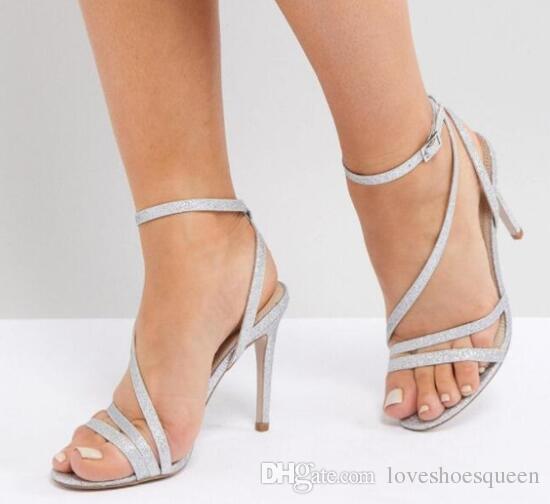 2019 sexy mulheres sapatos de casamento bling bling sapatos de salto alto sapatos de festa fivela sandálias sapatos de vestido de lantejoulas sandálias de couro vestido de saltos