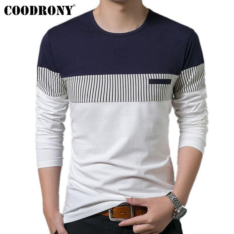 COODRONY T-Shirt Men 2019 весна осень Новый длинным рукавом O-образным вырезом Футболка Мужчины Марка Одежда Мода Лоскутная Хлопок Tee Топы 7622 V191031
