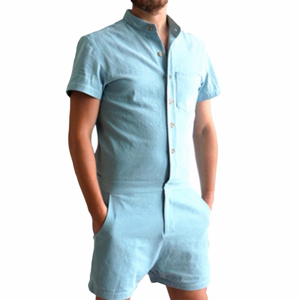 Summer Unique Romper Men Linen Shirt Short Sets Single Breasted Jumpsuit Fashion Overalls Tracksuit Casual Cargo Pants Fashion Fine