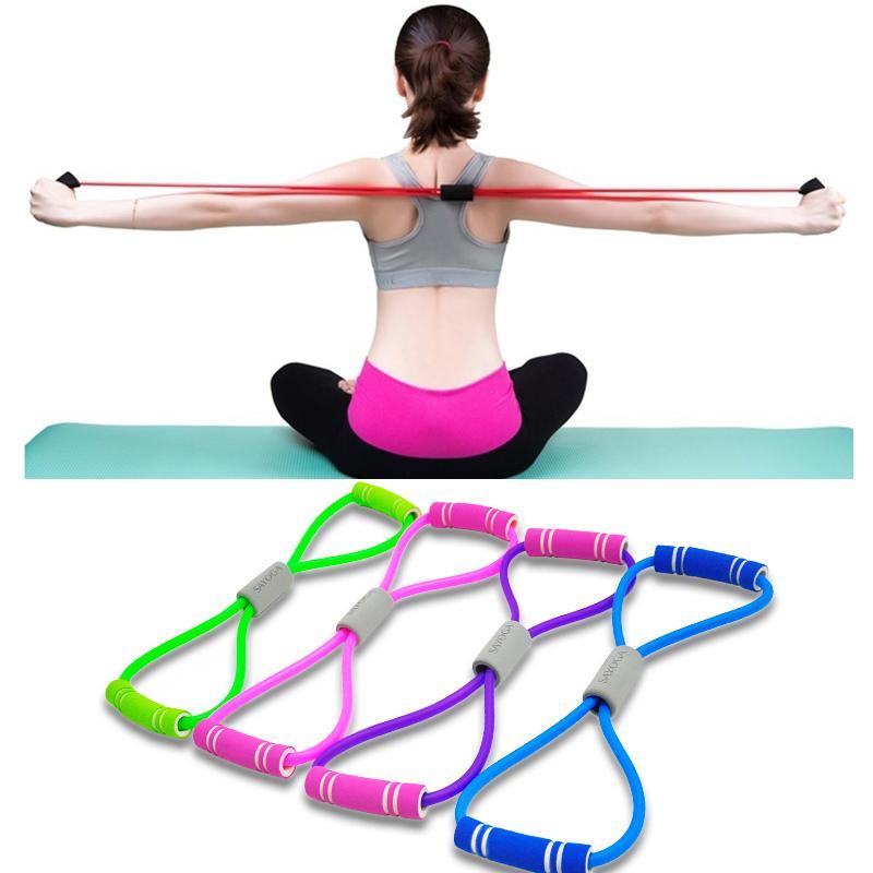 Widerstandsbänder 2021 crossfit 8 Wort Elastische Band Brustentwickler Gummischlaufe Latex Gym Fitnessgeräte Stretch Yoga Training
