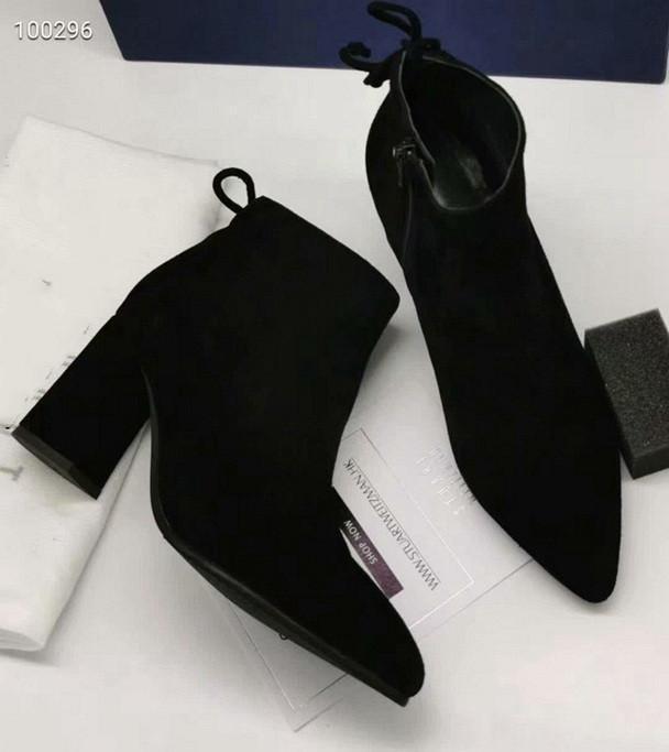 botines de lujo de alta calidad de cuero de gamuza nuevas mujeres señaló gruesa con botines partido diseñador de alta talón 7cm