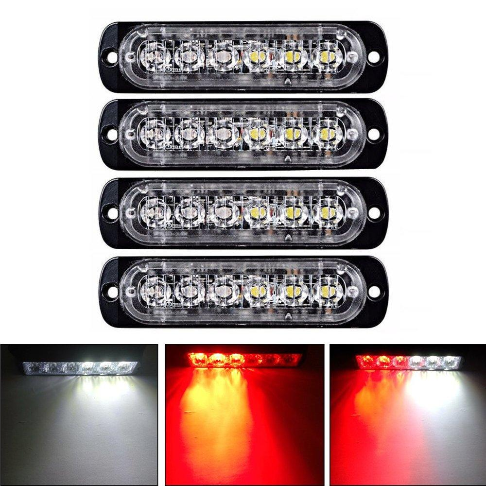 4Pcs Sync Funktion AUTO 6LED Auto-LKW Notfall Beacon Warnung Gefahren Flash-Stroboskop