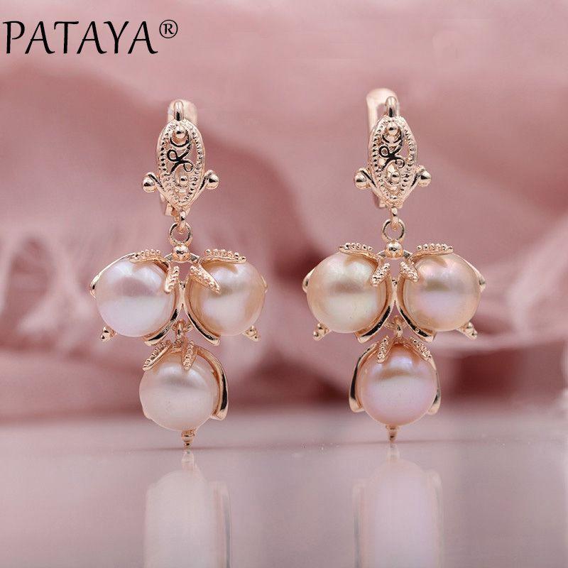 Pataya New Multicolor naturais de água doce irregulares Pearls 585 Rose Gold longo Dangle Wedding Party Brincos Mulheres Trendy Jóias
