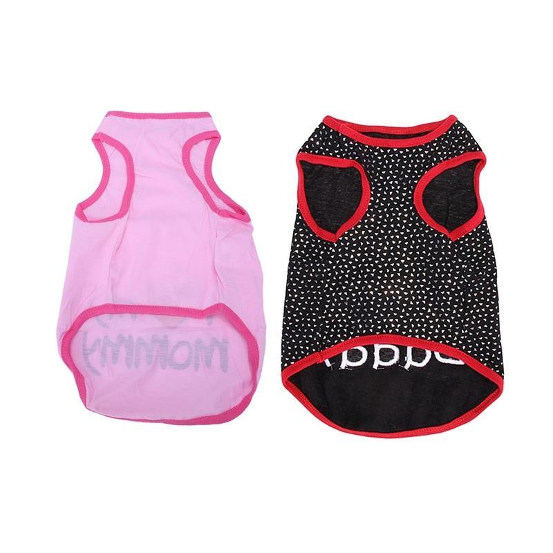 2 Pcs Fashion Cool Clothes Lover Vest T-Shirt for Puppy Dog Cat-Pink XL & Black L Dog Apparel
