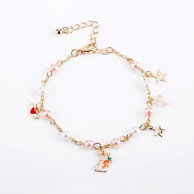 HEu Alice In Wonderland Star Charm Bracelet Cute Angel Wings Bead Chain Wristband For Women Girl