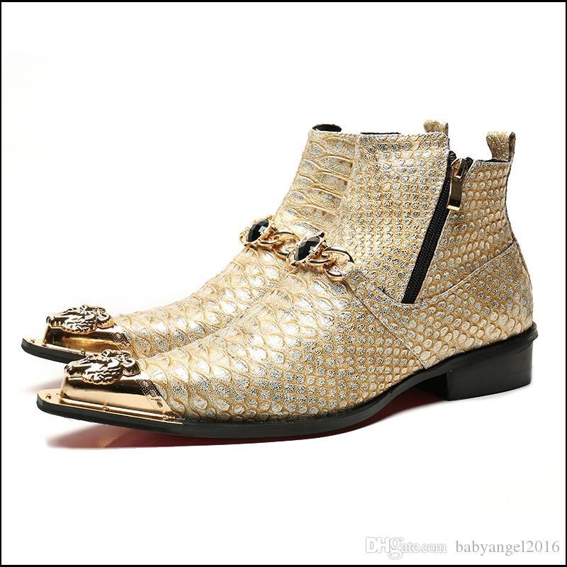 Plus Size Spitz Rhineston Mann handgemachte Metallspitze Schuhe Alligator echtes Leder Herren Punk Rocker Ankle Boots