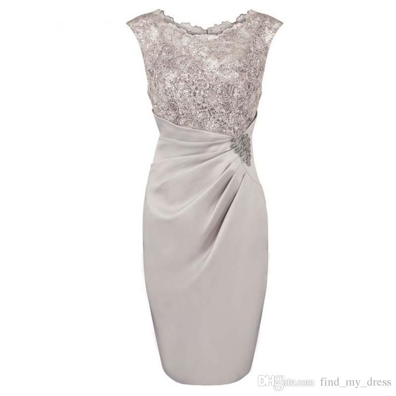 Tampa manga imagem real de prata bainha cinza colher mãe curta da noiva vestido lantejoulas cetim apliques joelho comprimento vestido de festa elegante