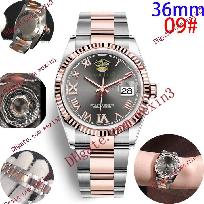 16 цвет роскошные женщины платье часы 36 мм элегантный нержавеющая сталь розовое золото часы высокое качество Леди горный хрусталь автоматические наручные часы