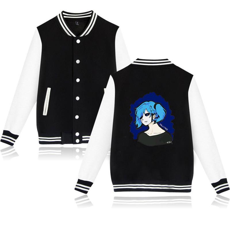 XXS-4XL Sally Face Baseball Jacket Casual Harajuku Sweatshirt Outwear Double Horsetail Boy and Blue Background Printed Streetwear Tops