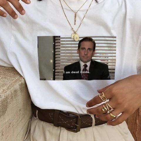 f6a7683331 hahayuleThe Office Michael Scott I Am Dead Inside Quotes Funny T-Shirt  Unisex Tumblr Grunge