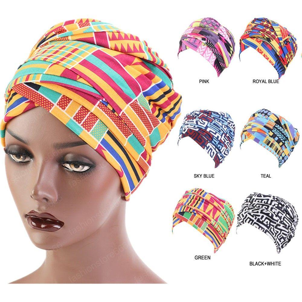 Kadınlar Nijeryalı Pamuk Başkanı Wrap Müslüman Bayanlar Baş Aşınma Bandana Saç Aksesuarlar için Afrika Desen Uzun Turban Başörtüsü
