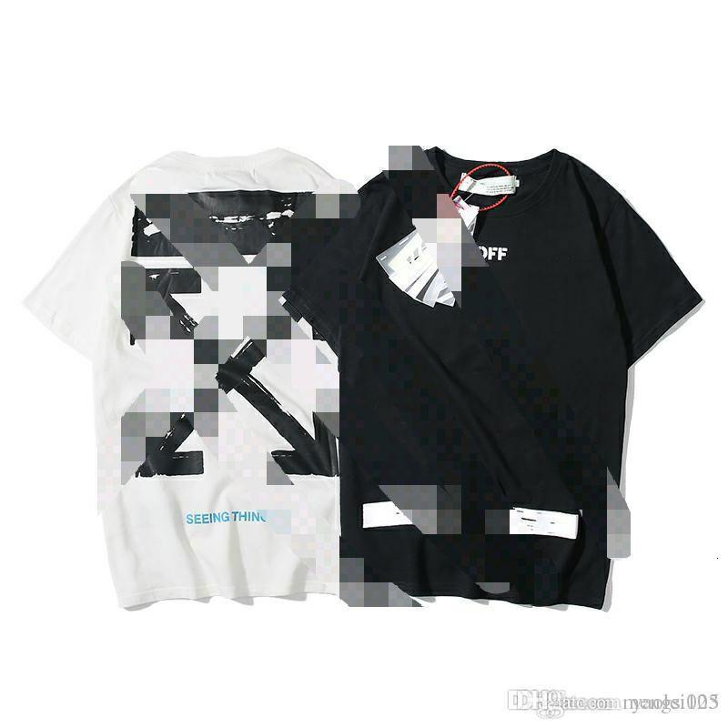 OFF Europeu e em torno do pescoço T-shirt dos homens de manga curta soltas grafite roupas maré americanos brancos