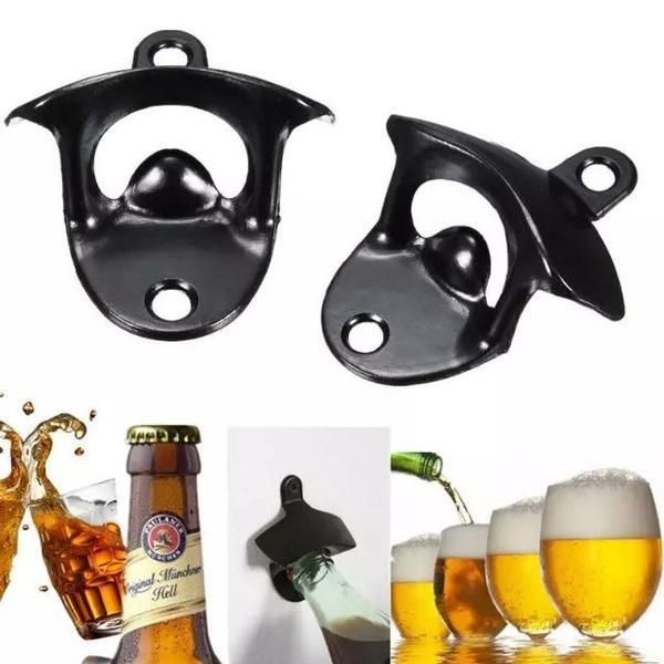 새로운 1PC 벽 맥주 와인 병 뚜껑 포수 바 마운트 아연 합금 오프너 (블랙) 기타 주방 바 식사 탑재