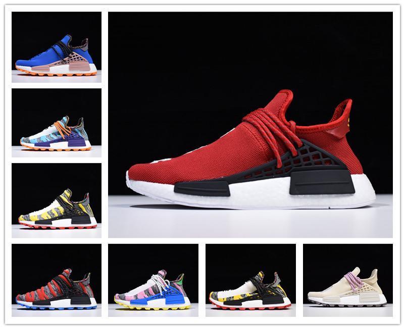 Sıcak 2019 Yeni Pharrell Williams insan ırkı Erkekler Kadınlar Ucuz Tasarımcı Ayakkabı HU Runner Sarı Beyaz Kırmızı spor ayakkabı Primeknit Koşu Ayakkabıları