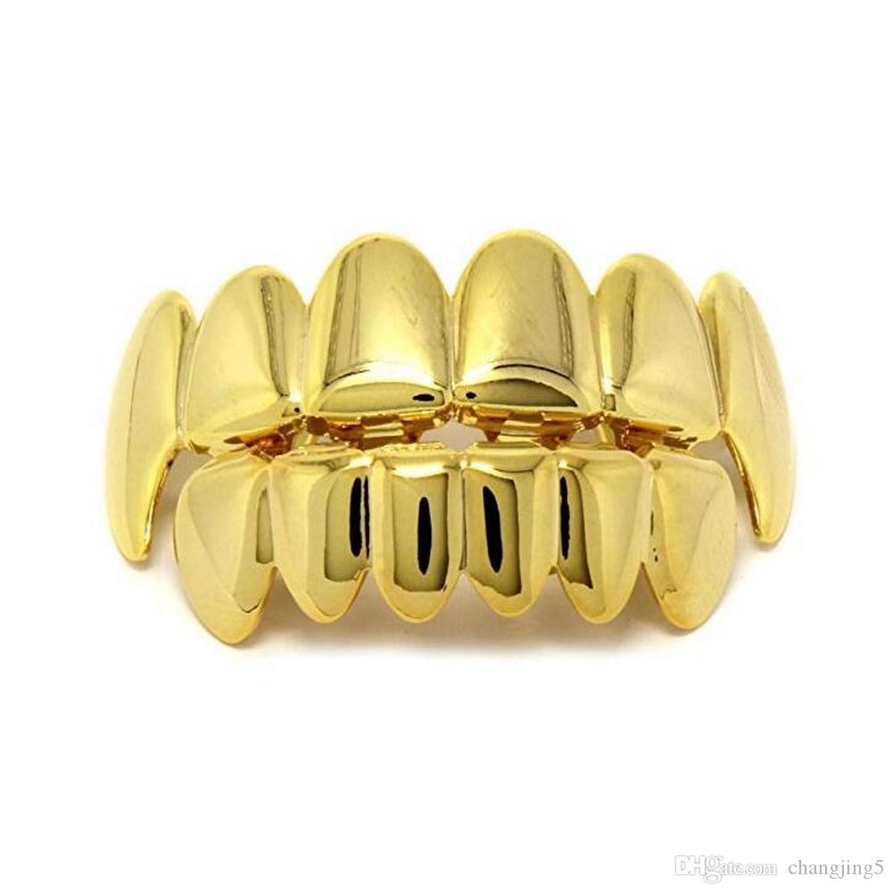 Los hombres de la plata del oro Dientes Grillz 6 Superior Inferior Parrillas de dientes dentales de imitación para las mujeres Hip Hop Rapper joyería del cuerpo del regalo