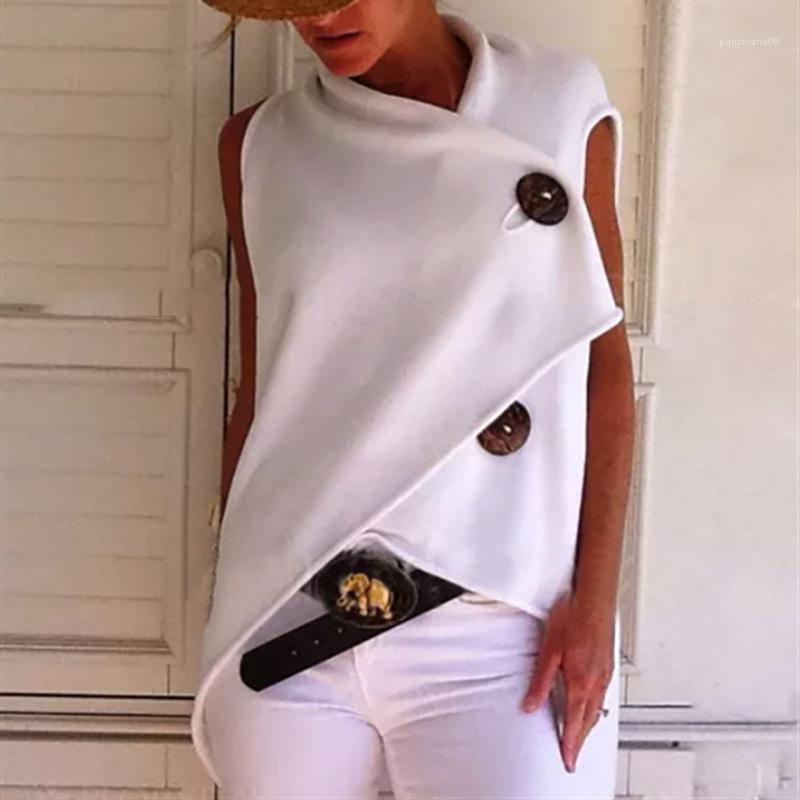 Moda Kısa Kollu Gevşek Kadınlar Yaz Bayan Moda Tees Yeni Düzensiz Düğme Tasarımcı Bayan tişörtleri Tops