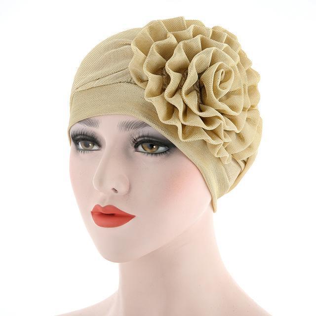 New muslimische Frauen Hijabs Schal Mütze Frau Schöne Blume Turban elastischer Stoff Kopf-Kappe Damen-Haar-Zusätze