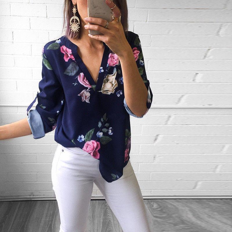 Casual Floral Impresso Tops e Blusas Mulheres Camisa Moda Verão Solto Top 3/4 Manga Com Decote Em V Blusa Das Mulheres Folha de Impressão Camisa