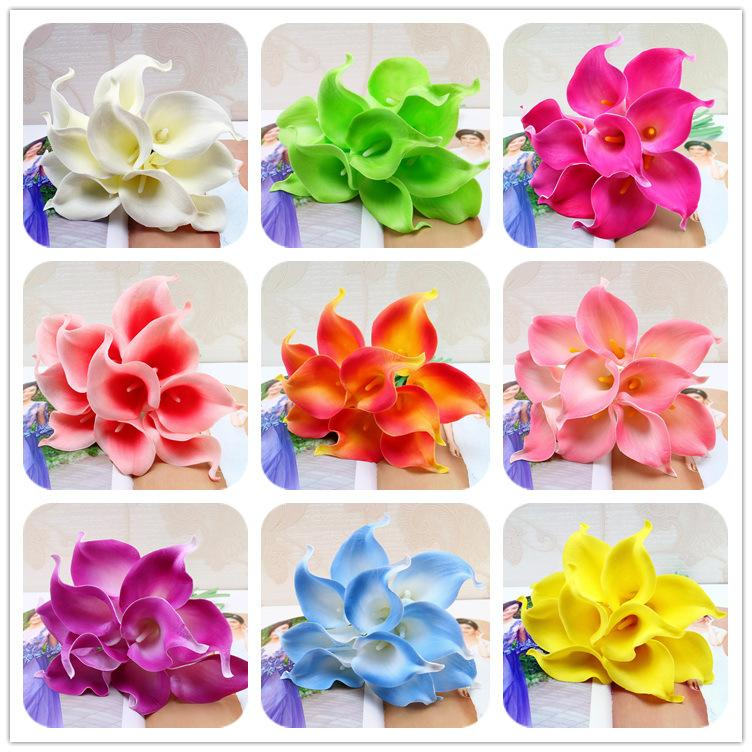 10Pcs/lot Artificial Flower Decorative Flowers Calla Lily Latex Home Decoration Birthday Party Wedding Bouquet Flowers