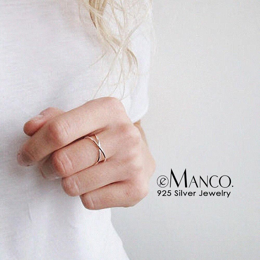 e-Manco 2 слоя открытые кольца стерлингового серебра 925 пробы кольца для женщин простые модные изысканные ювелирные изделия девушка подарки оптом изысканные ювелирные изделия Y200323