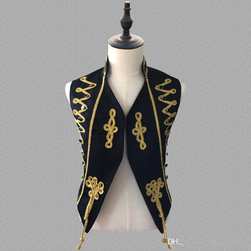 men vest palace clothing personality slim male sleeveless vests men punk rock costumes hombre chalecos singer dance black