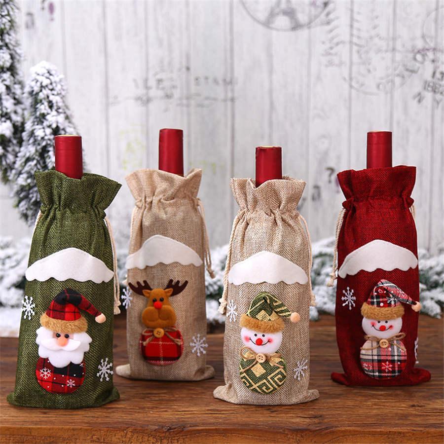 Botella de Navidad Decoración botella de vino rojo bolsa de lino Santa Claus muñeca Vino Tinto Vino Bolsa Bolsa Festival Hotel Decoración