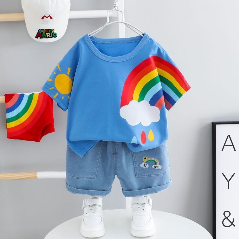 Bebek Giyim Kız Erkek Giyim Yaz Kısa kollu Suit 2 Çocuk 1-4 Yaş Çocuk Pamuk Boy Yaz İki parçalı için