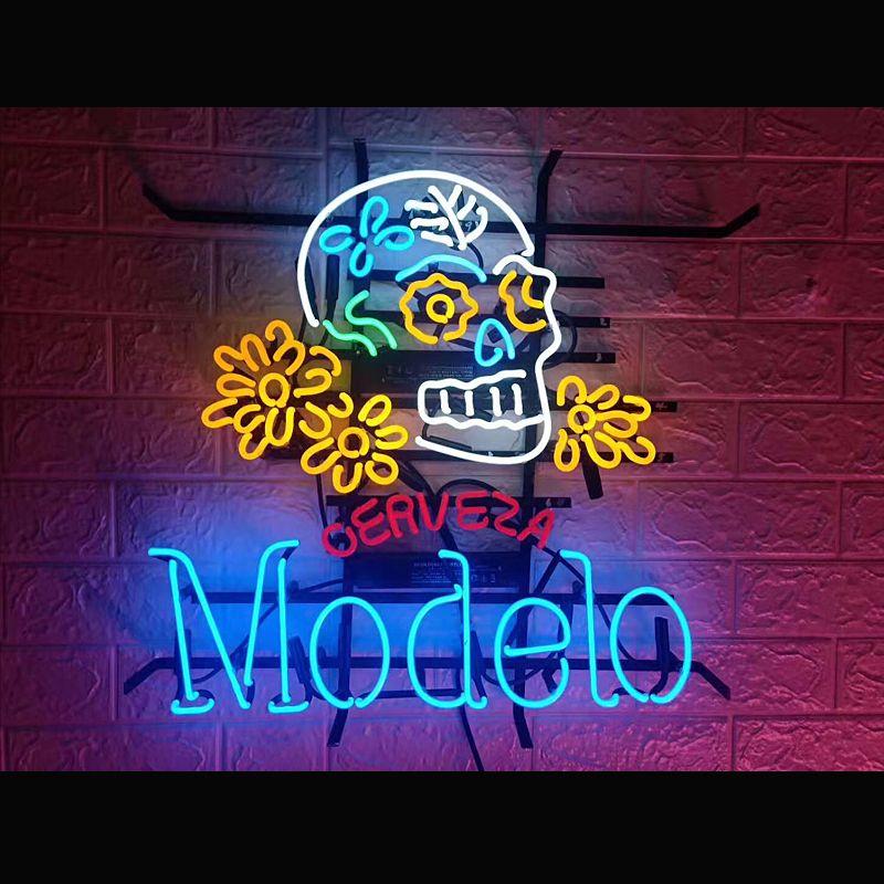 OERVEZA Modelo Kafatası Logo Neon Tabela Işık Beer Bar Pub Duvar Posteri El Yapımı Sanat Visual16