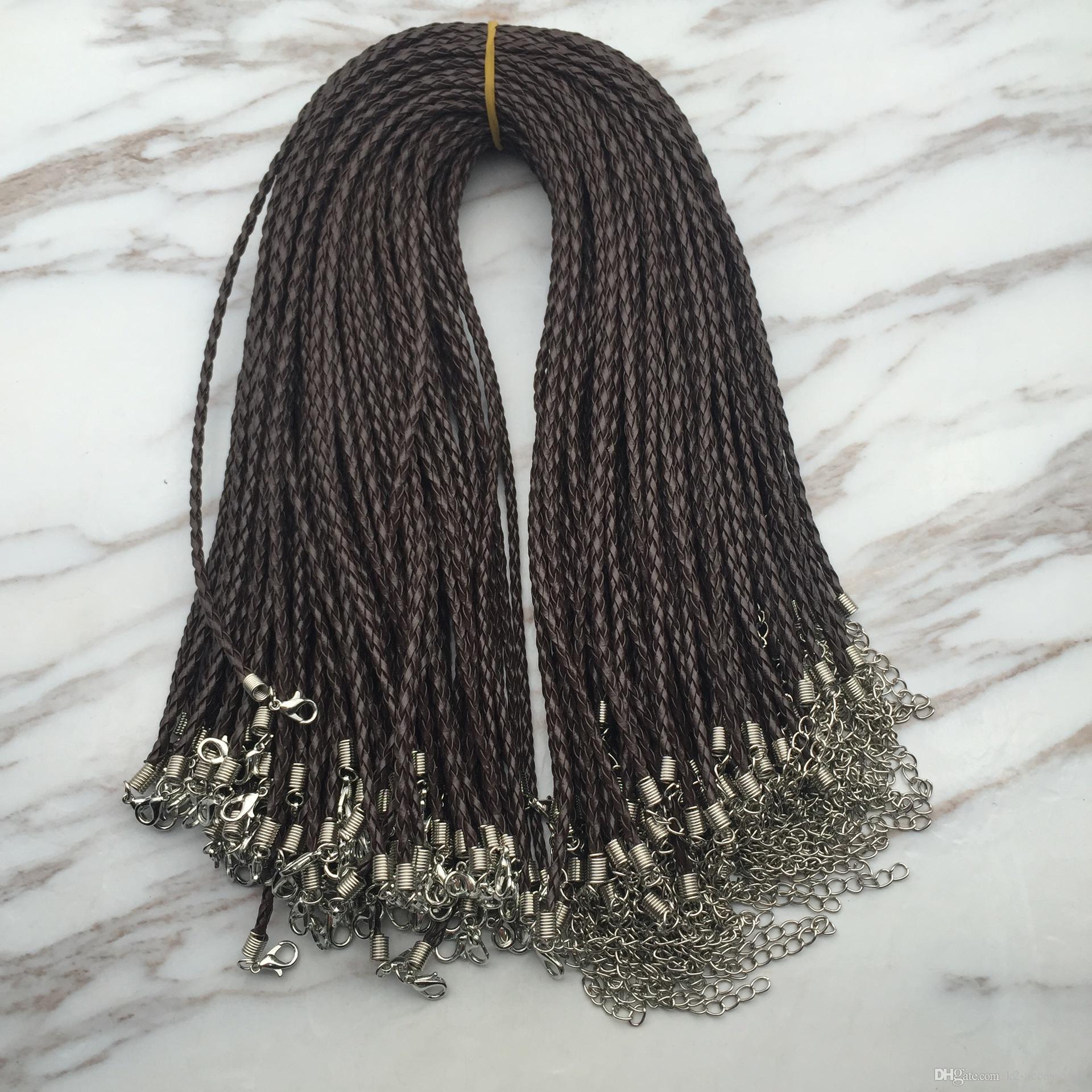 100pcs / lot 18 '' 3mm BROWN PU-Leder Braid Halskette Schnüre mit Hummer-Haken für DIY Schmucksachen Neckalce Anhänger Craft Schmuck