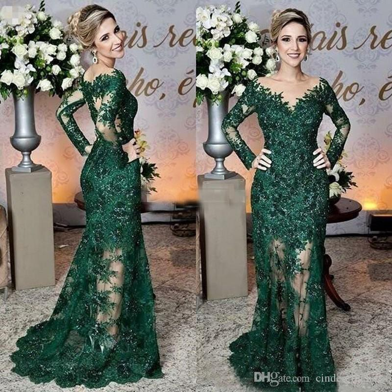 2019 Modern Dark Green Mother of The Bride Dresses Sheer Jewel Neck Lace Appliques Long Sleeve Mermaid Formal Evening Prom Dresses
