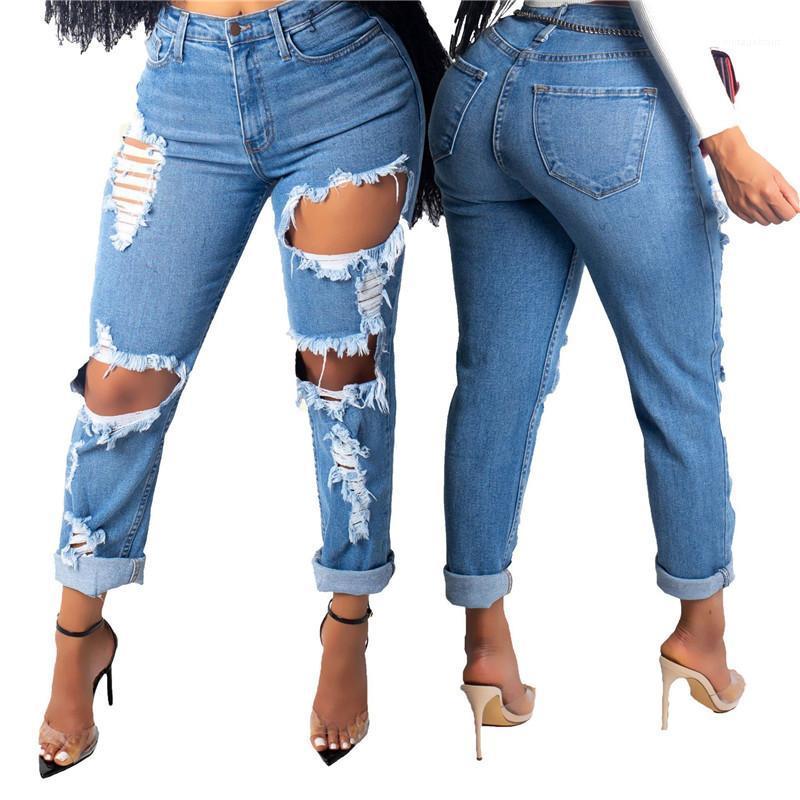 Jeans taille Femmes Vêtements pour femmes Corsaires Jeans Mode Trou lambrissé Crayon Pantalons simple Couleur Natural High