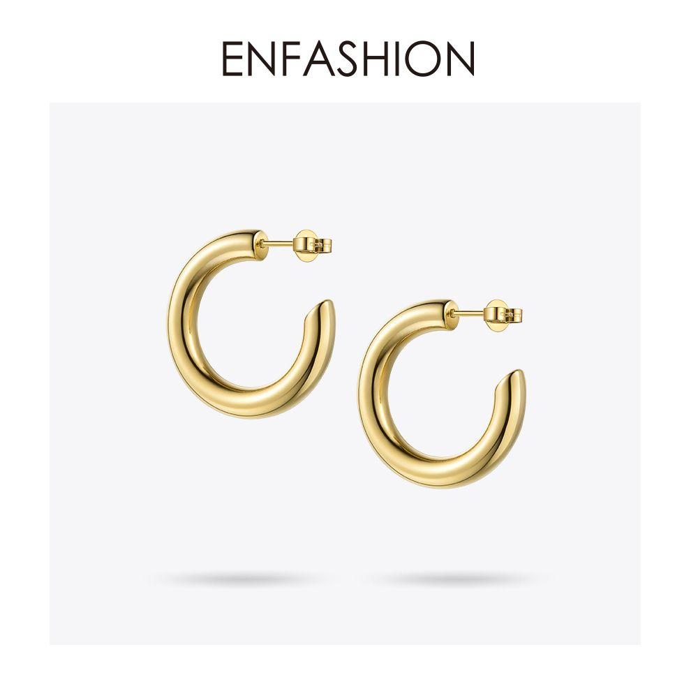Enfashion Kleine Creolen Solid Gold Farbe Ewigkeit Ohrringe Edelstahl Kreis Ohrringe Für Frauen Schmuck Ec171023 T190625