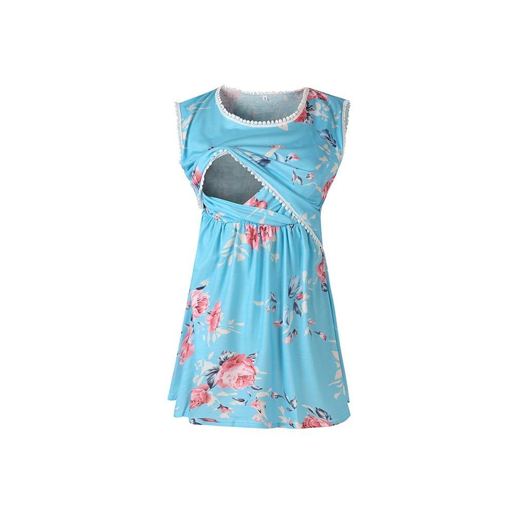 Top Allaitement Femmes d'été Tassel Débardeur imprimé bébé Douche T-shirt élégant Casual enceinte Vêtements de maternité Ropa embarazada 19Jun25