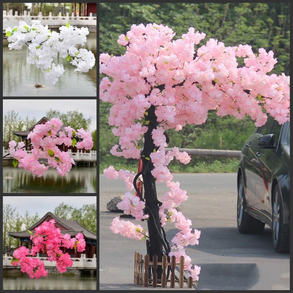 الفروع 1M طويلة أزهار الكرز الزهور الاصطناعية الزفاف القوس الديكور الخوخ فرع خلفية تعليق على الحائط وهمية زهرة