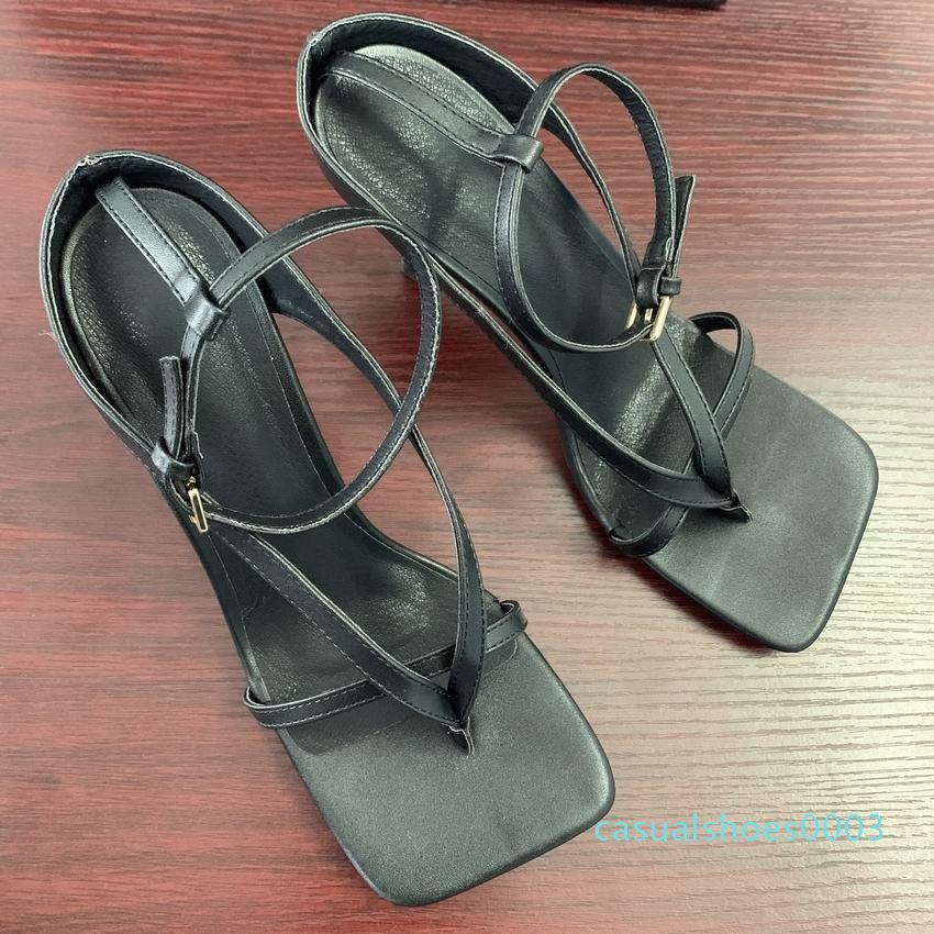 2020 verano de las mujeres sandalias de tacón alto Zapatos de otoño mejores calle Mira Las hembras de cabeza cuadrada punta abierta Clip-On de tiras de mujeres de las sandalias c03