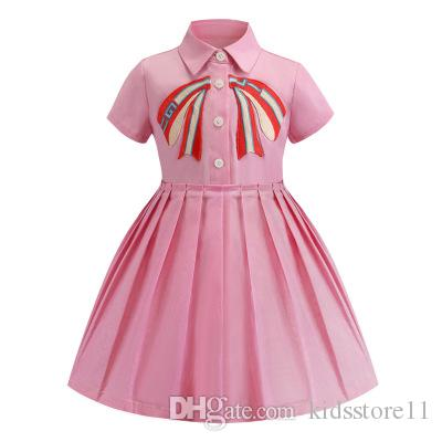 kids designer Dress clothes 2019 Summer bowknot Embroidery Girls Princess Dress Cute Lapel short sleeve children Pleated Dress high quality