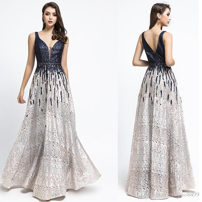 Robe De Soiree Gatsby 2019 Luxury black sequins A-Line Evening Dresses yousef aljasmi sexy v Neck beaded crystal arabic Prom Gowns 5499