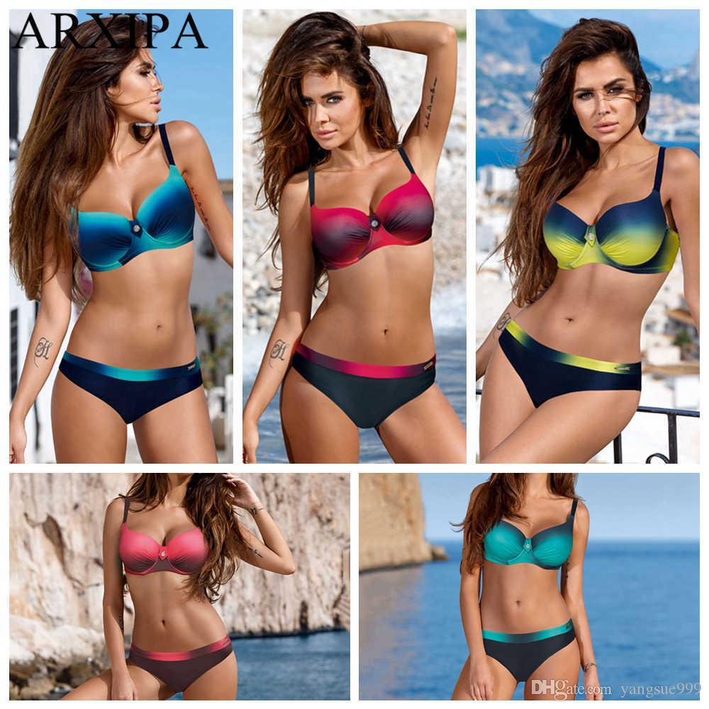 ARXIPA Degrade Kadınlar Için Seksi Bikini Set Push Up Mayo Cendwire Mayo Artı Boyutu Mayo Beachwear Yüzmek Giyim 2019 Yeni Lbskc