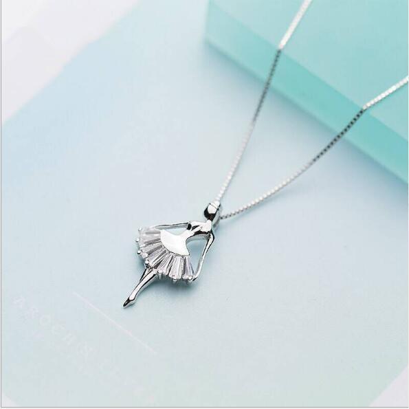 s925 ciondolo in argento femminile coreano dolce diamante ballerino della ragazza della principessa della clavicola chain268