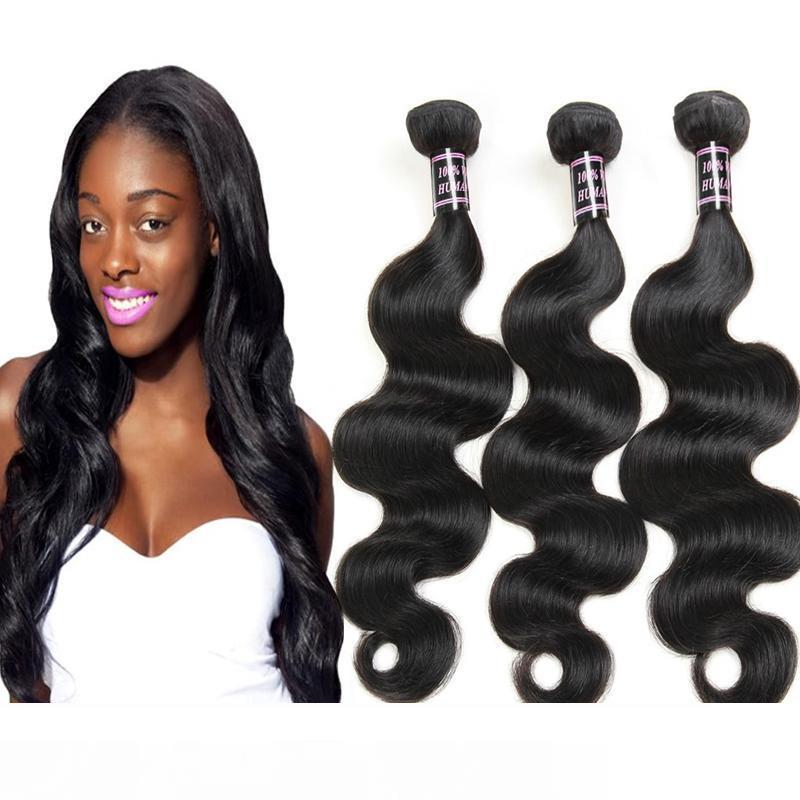 Capelli 8A a buon mercato brasiliano non trattato BodyWave capelli umani 3Bundles all'ingrosso peruviano indiano malese BodyWave tessuto di trasporto