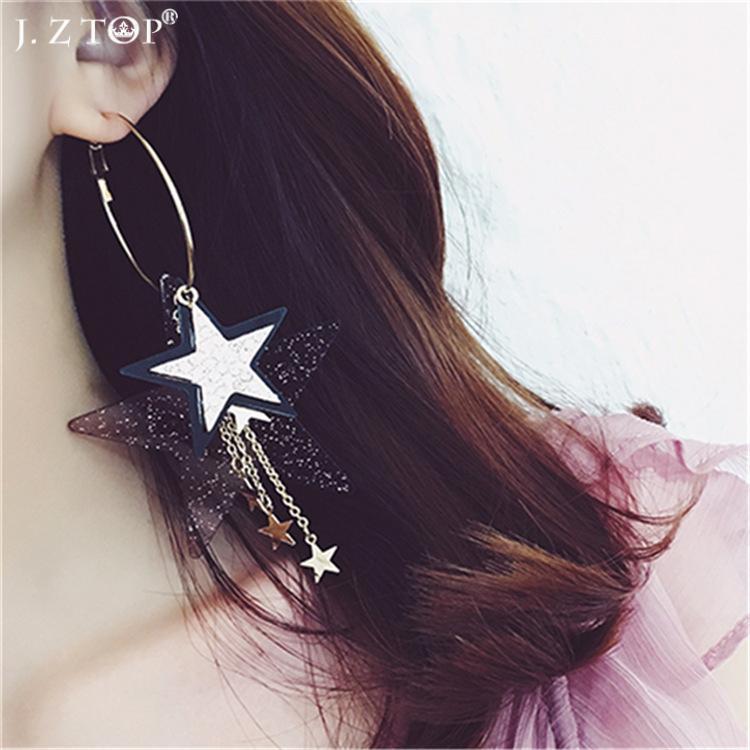 New Big Hoop Earrings Sequins Rhinestone Pentagrams Star Tassel Earrings Fine Basketball Wives Earring Brinco De Argolae