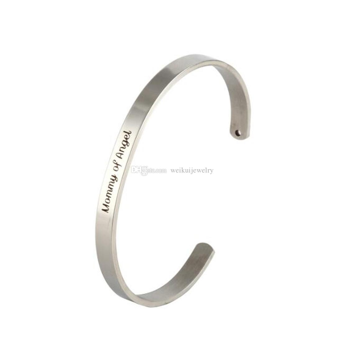 Fashion Lettering Silver Cuff Bracelet Brazalete de acero inoxidable Regalo inspirador para mamá - Mamá, mi ángel